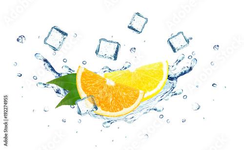 Printed kitchen splashbacks orange and lemon splashing water and ice cubes isolated on white