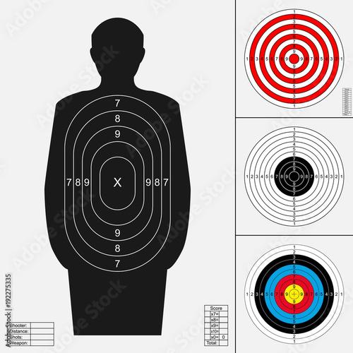 Shooting target set  Silhouette of human, archery target, darts