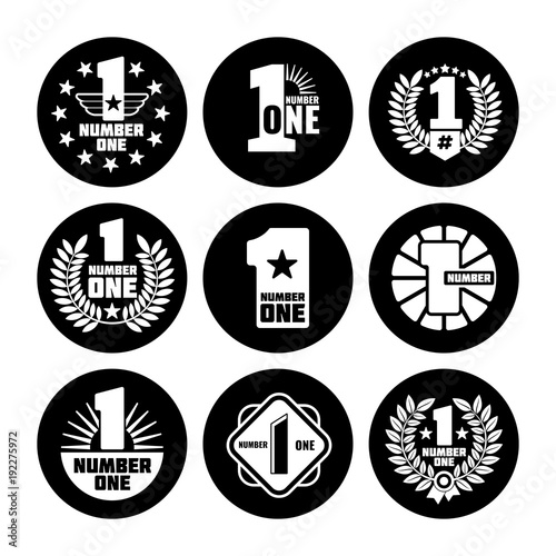 Number one vector labels on black icons Canvas Print