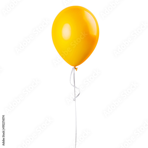 Yellow balloon isolated on a white background. Party decoration for celebrations and birthday