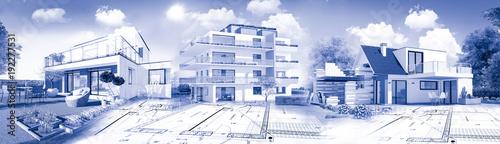 Concept immobilier et construction de maison Fototapet