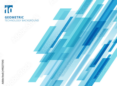 Fotografie, Tablou Abstract technology diagonally overlapped geometric squares shape blue colour on white background