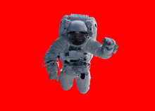Astronaut Isolated On Red Back...