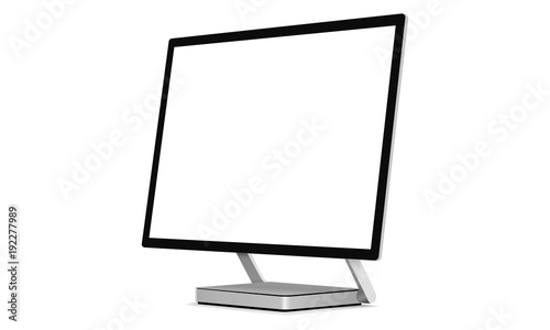 Computer monitor with blank screen for presenting your designs on this mockup 3/4 left view Wallpaper Mural