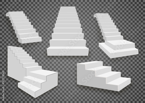 Fototapeta White stairs, 3d staircases. Set, Isolated on transparent background obraz