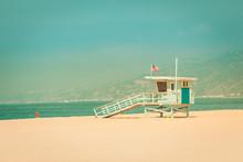 Vintage Lifeguard Hut On Santa Monica Beach
