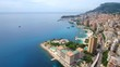 Monaco bay Aerial Flying towards downtown, France, French riviera, holiday
