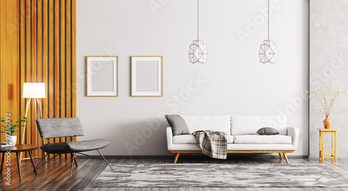 Fotografia, Obraz  Interior of modern living room 3d rendering