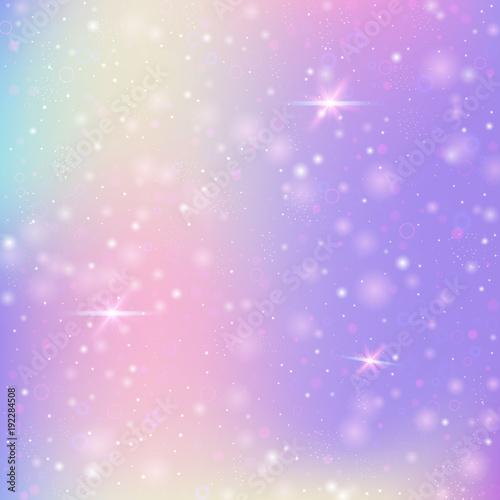 Jednorożec tło z tęczy siatki. Kawaii wszechświat transparent w kolorach księżniczki. Tło gradientowe fantasy z hologramem. Holograficzne tło jednorożca z magią błyszczy, gwiazd i rozmycia.