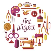 Creative Art Project Vector Poster For DIY Handicraft And Handmade Craft Workshop Classes