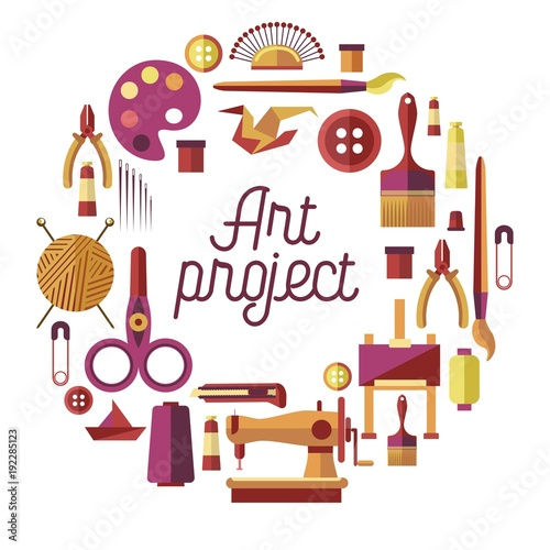 Fotografia Creative art project vector poster for DIY handicraft and handmade craft worksho