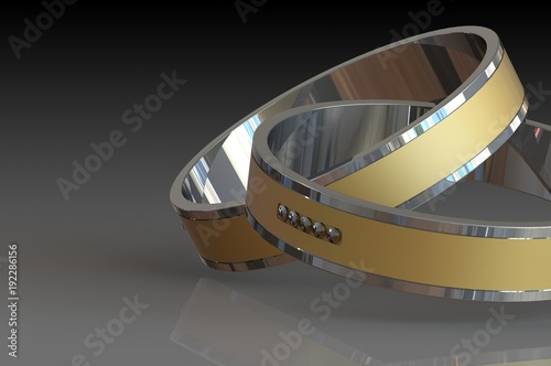 Foto op Aluminium Arctica A pair of gold wedding rings with diamonds on black background