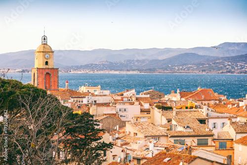 Obraz na płótnie View of the city of Saint-Tropez, Provence, Cote d'Azur, a popular destination f