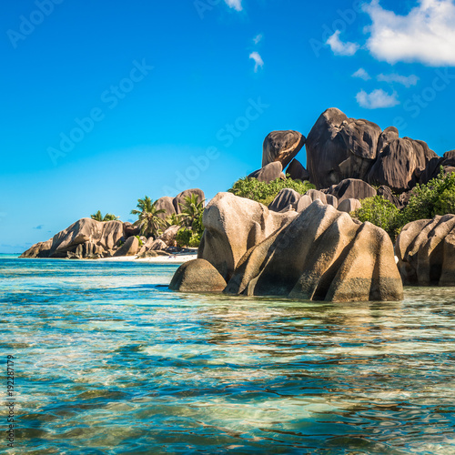 Foto op Canvas Tropical strand Tropical island beach, Source d'Argent, La Digue, Seychelles