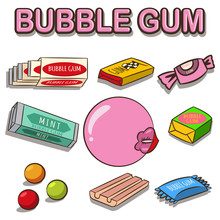 Bubble Gum Vector Cartoon Set ...