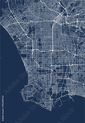 Photo  vector map of the city of Los Angeles, USA