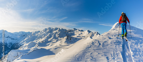 Poster Glisse hiver Skiing with amazing view of swiss famous mountains in beautiful winter snow Mt Fort. The matterhorn and the Dent d'Herens. In the foreground the Grand Desert glacier.