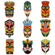 Tribal Tiki Mask Vector Set Of...