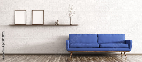 Interior of modern living room 3d rendering Canvas Print