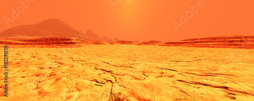 Stickers pour porte Orange eclat 3D Rendering Planet Mars Lanscape