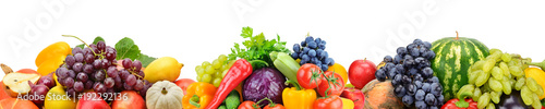 Foto op Plexiglas Keuken Collection fresh fruits and vegetables isolated on white background. Panoramic collage. Wide photo .