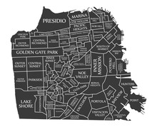 San Francisco City Map USA Lab...
