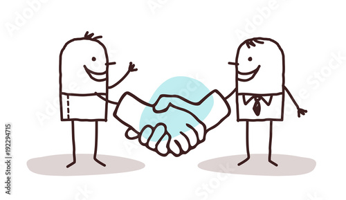 Fotografie, Obraz  Cartoon Men Shaking Big Hands