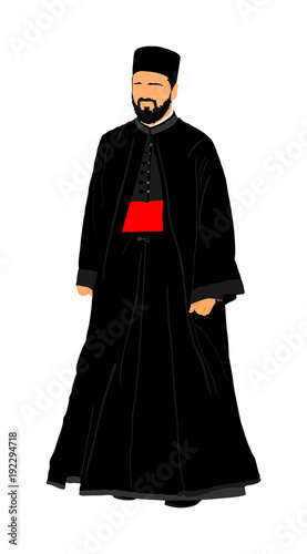 Valokuvatapetti Orthodox Christian priest vector isolated on white background
