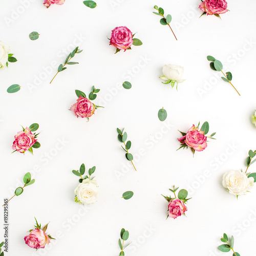 Floral Pattern Made Of Red And White Rose Flower Buds Eucalyptus Branches On Background