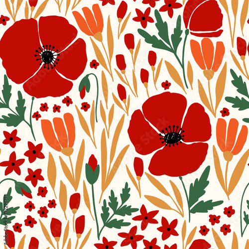 Seamless pattern with red poppy flowers - 192296198