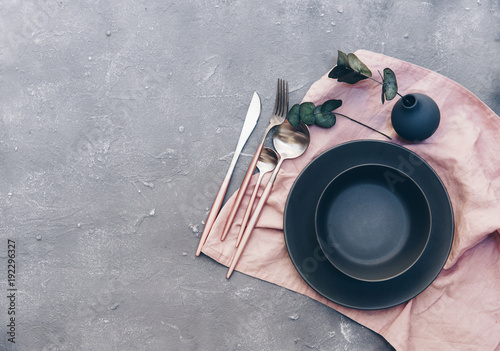 Rustic table setting with vintage ceramic plates and branch on blue old wooden table with copy & Rustic table setting with vintage ceramic plates and branch on blue ...