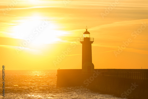 Foto auf Leinwand Leuchtturm Lighthouse at sunset. Porto, Portugal