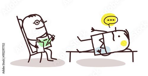 Valokuva  Cartoon Psychoanalyst with Patient