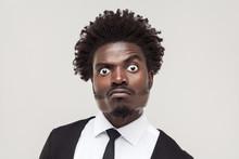 Portrait Crazy Businessman Wit...
