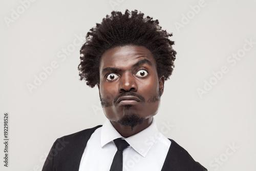 Obraz na plátně Portrait crazy businessman with funny face.
