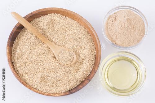 Organic raw amaranth grain, flour and oil Canvas Print