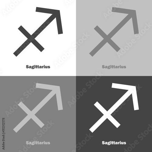 Sagittarius Zodiac Set Sign Astrological Symbol Vector Icon On