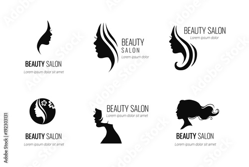 Set of black vector beauty salon or hairdresser icon designs isolated on white background - 192303131