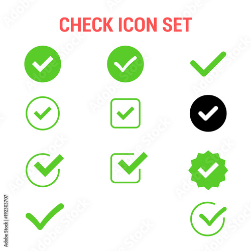 Fotografie, Obraz  Check icon set , Approved symbol.