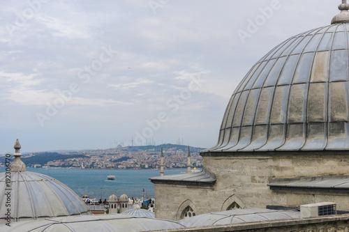 Photo  Panorama of Istambul from Suleiman mosque. Istambul, Turkey.