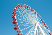 Ferris Wheel Against A Blue Sky In Chicago