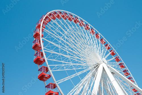 Fototapeta Ferris Wheel against a blue sky in Chicago obraz