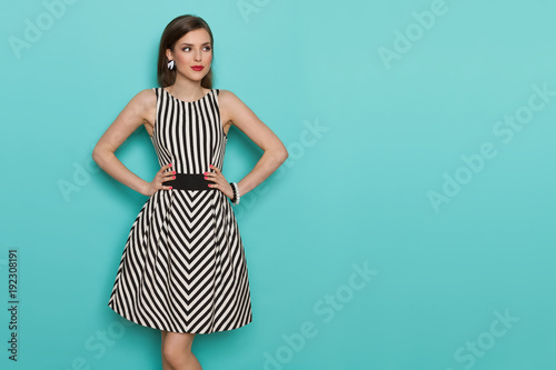 Vászonkép Beautiful Young Woman In Black And White Striped Dress Is Looking Away