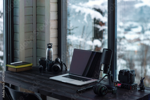 Valokuvatapetti Audio / Video editing workspace office with mountain view