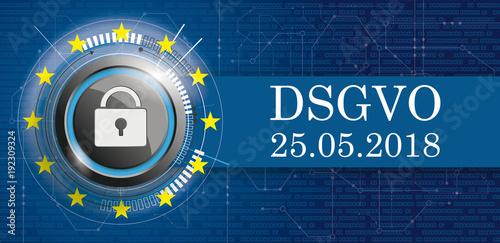 DSGVO Banner mit Vorhängeschloss, EU-Flagge mit Bits und Schaltplan ...