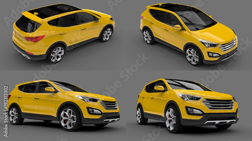 Türaufkleber Schnelle Autos Set compact city crossover yellow color on a gray background. 3d rendering.