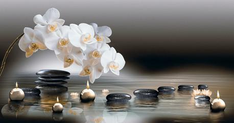 Fototapeta Do Spa Wandbild mit Orchideen, Steinen im Wasser und schwimmenden Kerzen