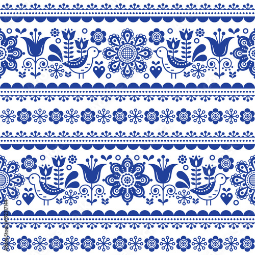 Photo  Scandinavian seamless vector pattern with flowers and birds, Nordic folk art rep