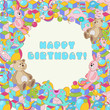 Happy Birthday vector colorful baby toy illustration