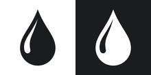 Vector Rain Drop Icon. Two-ton...